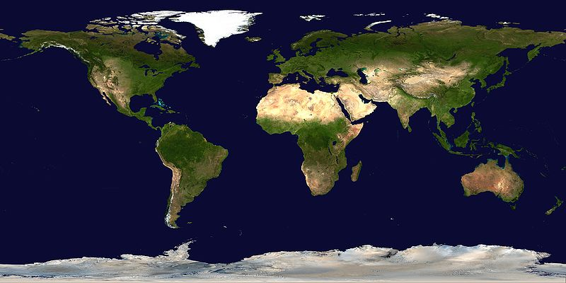 Earth- land surrounded by oceans