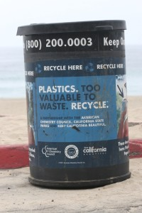 Recycling can at Point Dume Beach