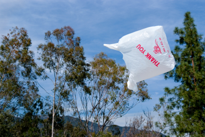 Plastic bag flying in the breeze